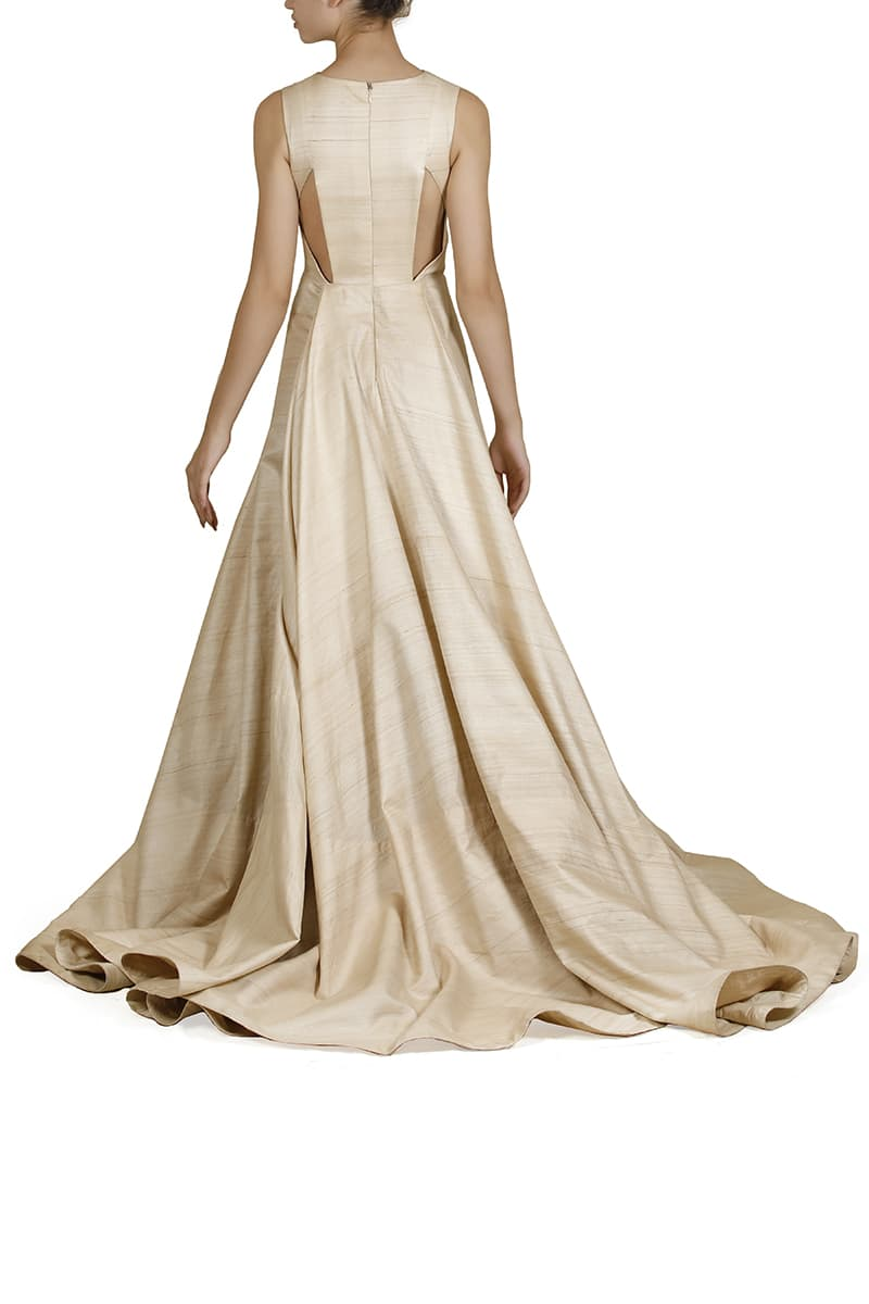 Panlled & Draped Gown