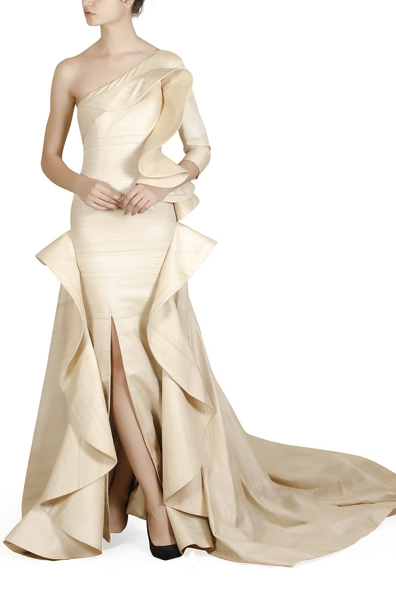 Textured Draped Gown
