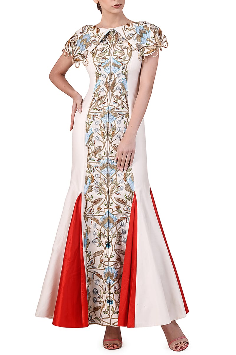 Panelled Cape Shoulders Embroidered Gown