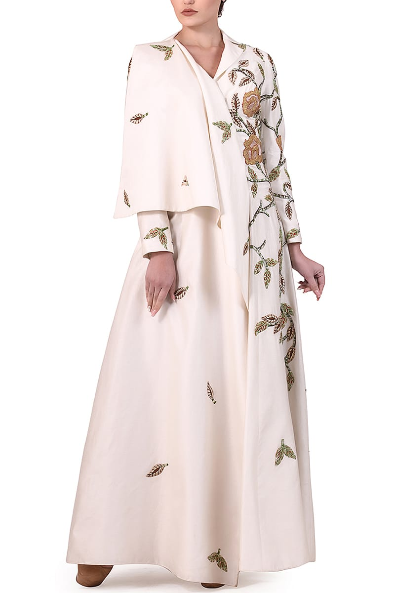 One-sided Overlap Sleeve Gown