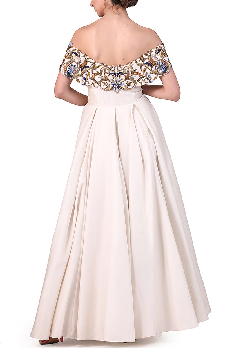 Fit & Flare Off-shoulder Embroidered Gown