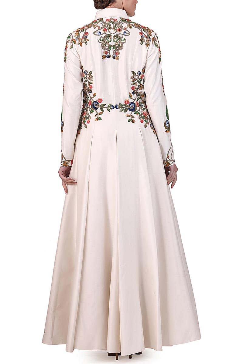 Embroidered Collared Gown