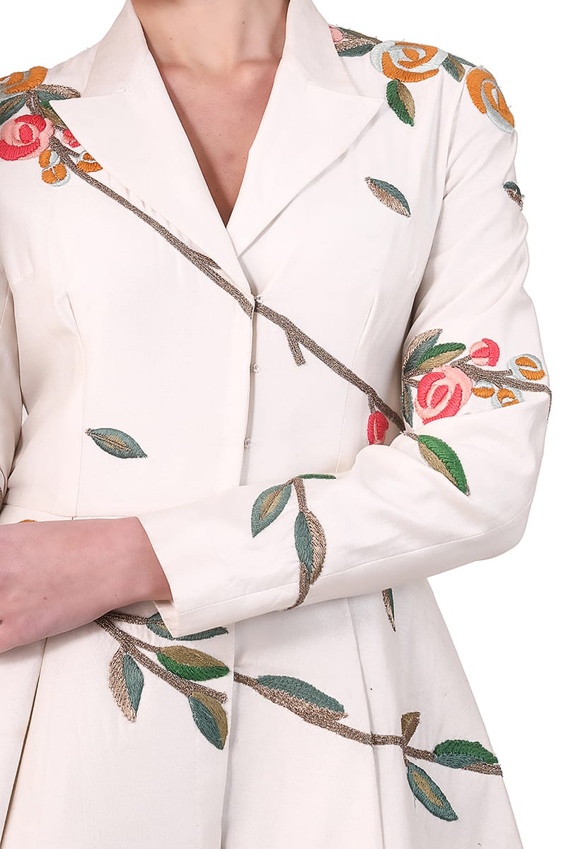 Collared Embroidered Jacket Gown