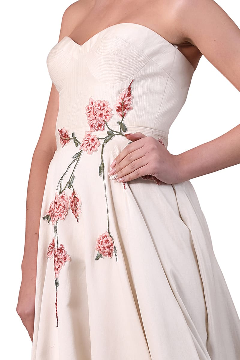 Embroidered Bustier Gown