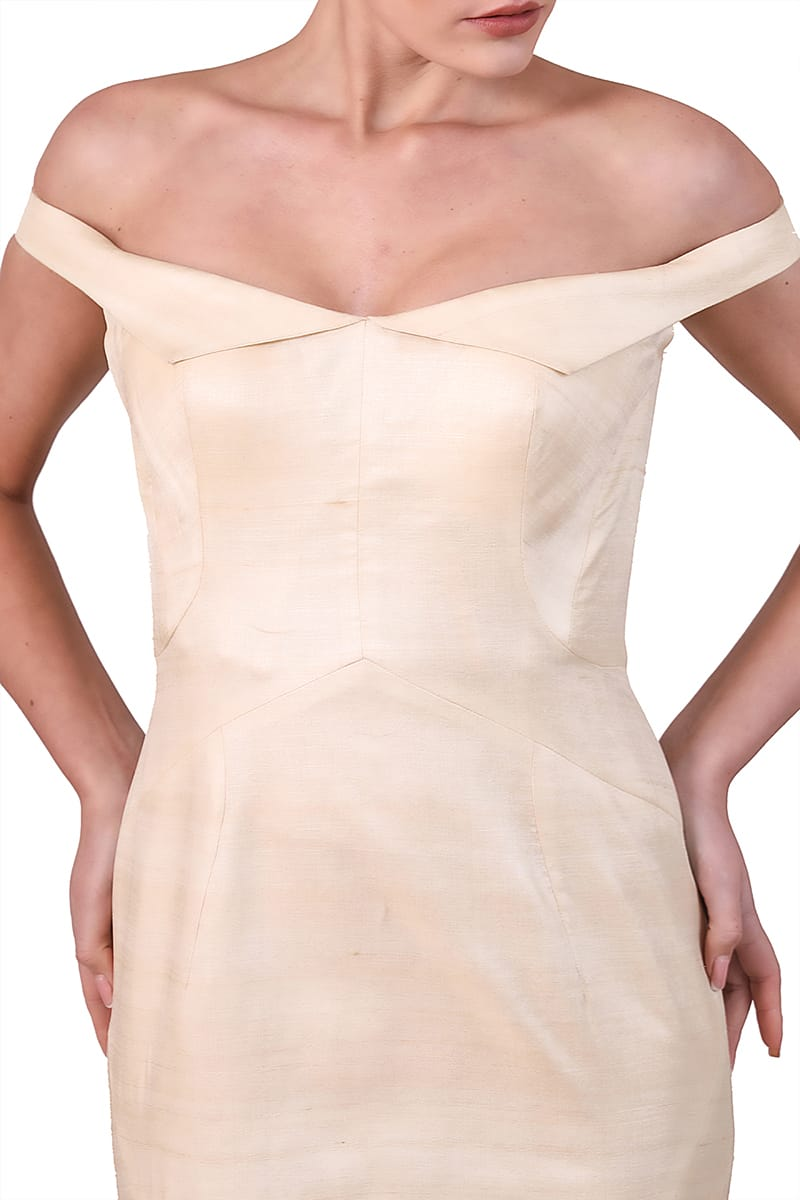 Off-Shoulder Paneled Gown
