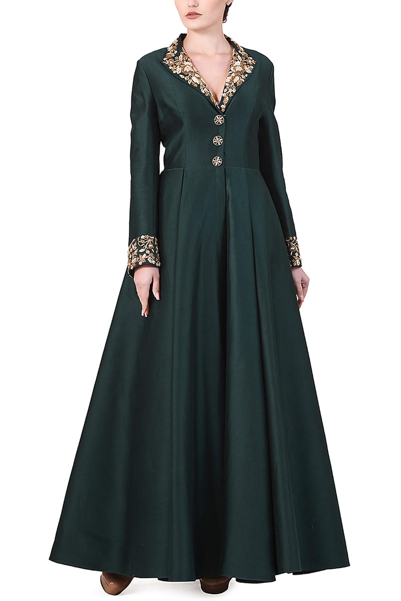 Collar Embroidered Gown