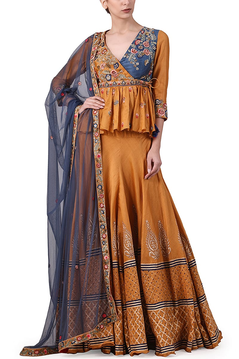 Embroidered Angarakha Blouse, Lehenga & Dupatta set