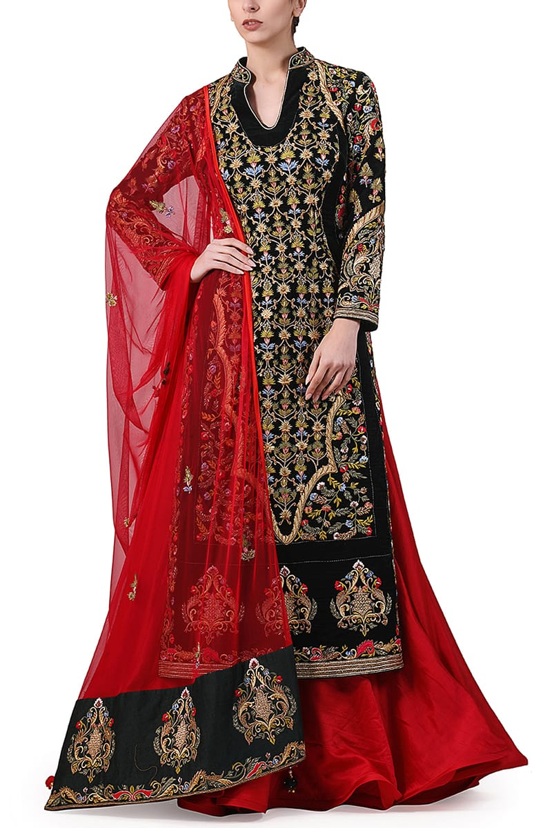 Velvet Embroidered Kurta & Lehenga set