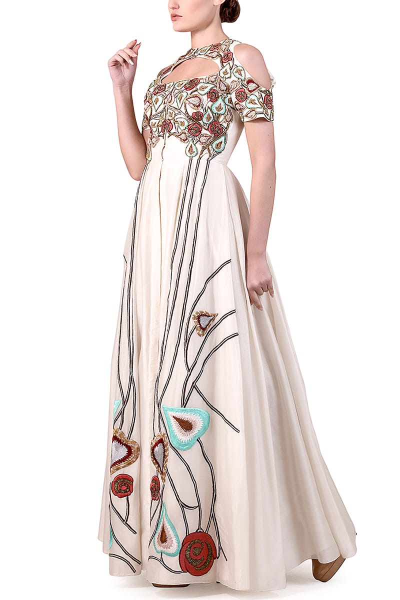 Cut-out Neck Gown