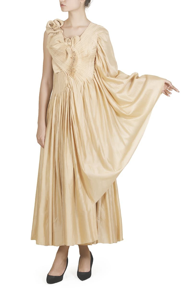 Pleated Drape Gown