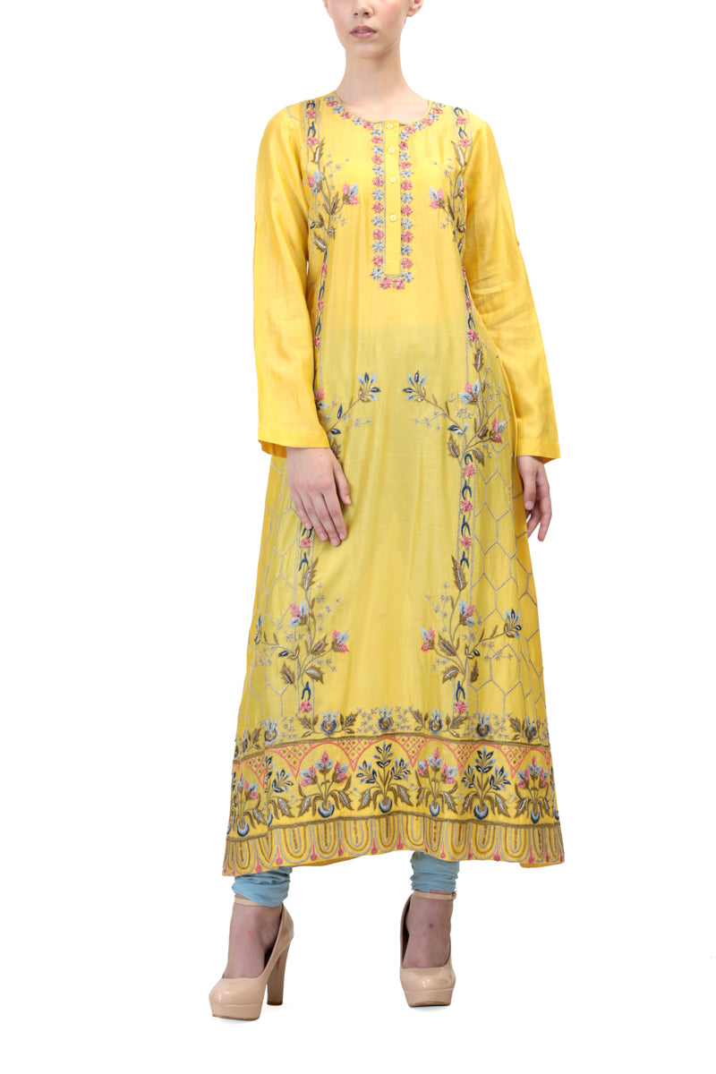 Vibrant Floral Embroidered Kurta