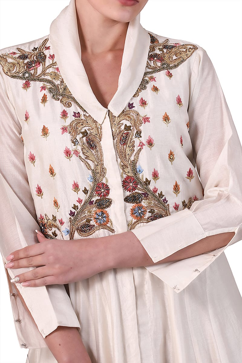 Lapelled fit & flare Embroidered Dress