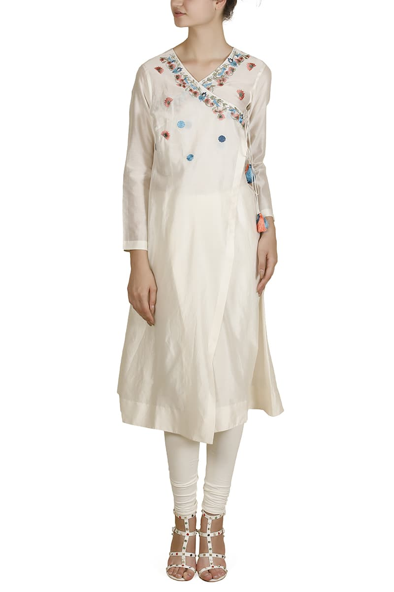 Overlap Angarakha Embroidered Kurta