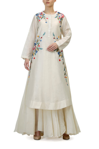 Patchwork V Neck Kurta