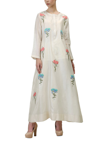 Front-opening Embroidered Jacket Gown