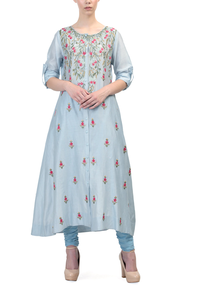 Button Placket Straight Kurta