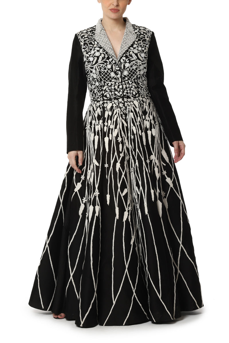 Pleated Jacket Gown