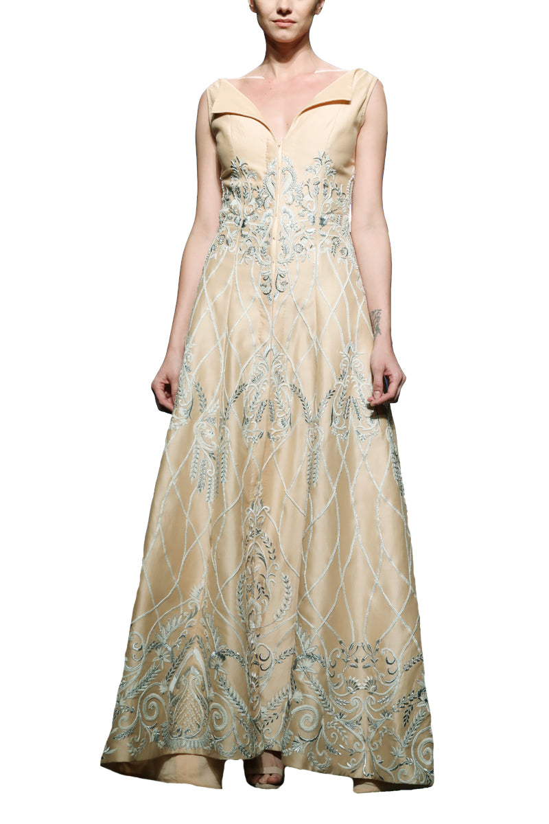 Flap Collar Embroidered Gown
