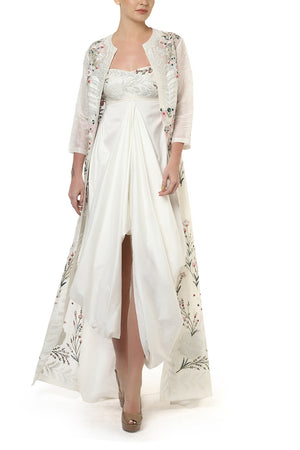 Embroidered Draped Dress & Long Jacket