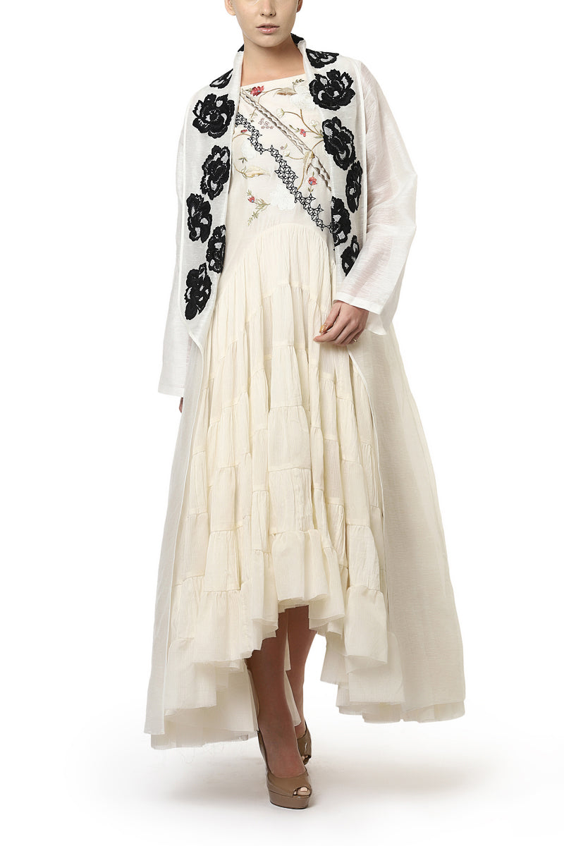 Embroidered Tiered Dress & Long Jacket