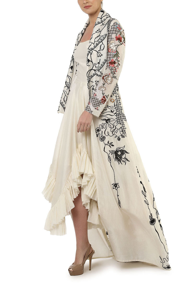 Ruffle Dress & Embroidered Long Jacket