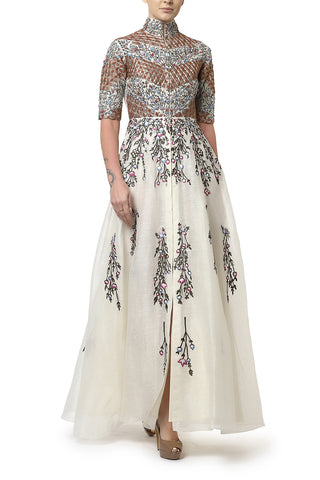 Mandarin Collared Embroidered Gown