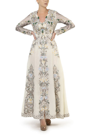 Floral Embroidered Gown