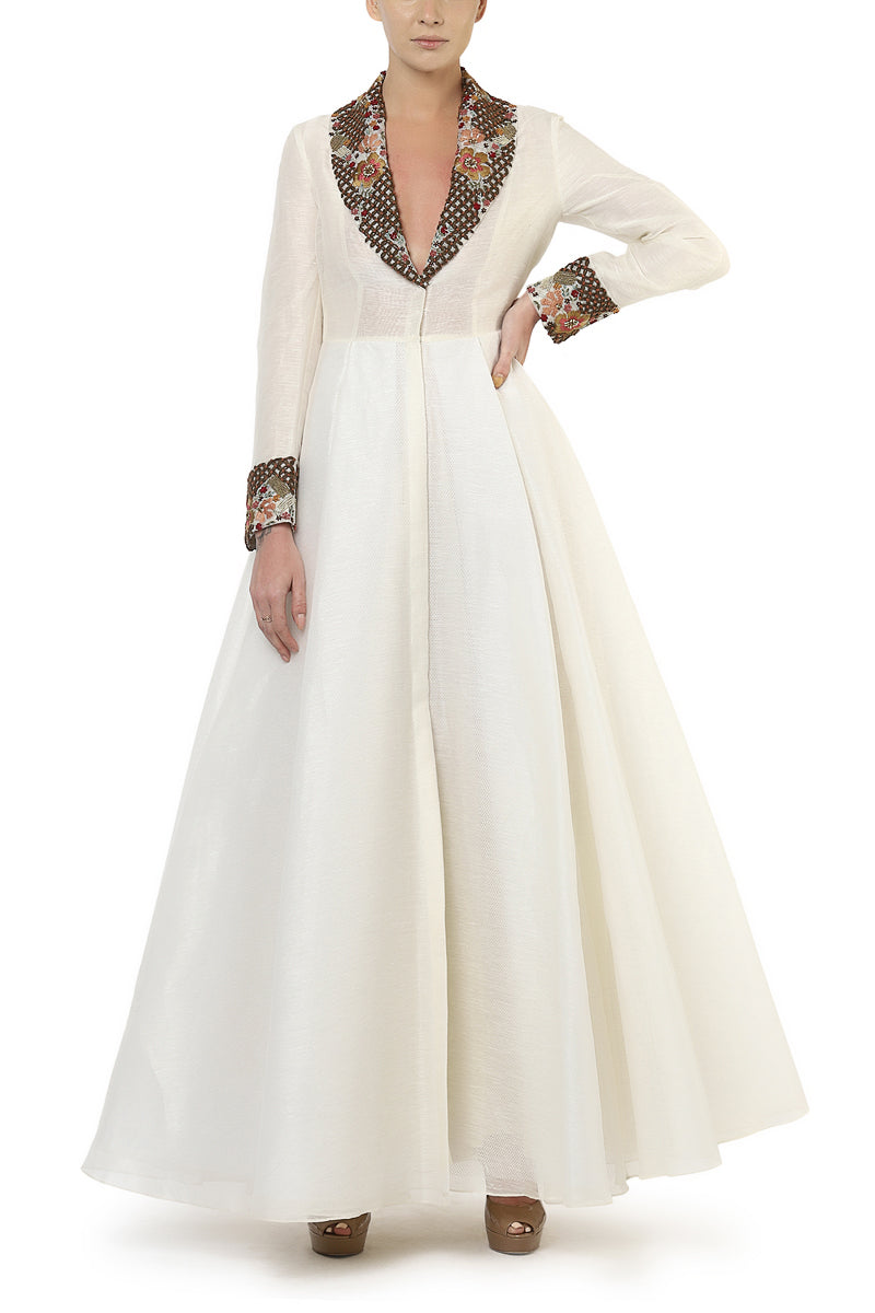 Fit & Flare Embroidered Gown