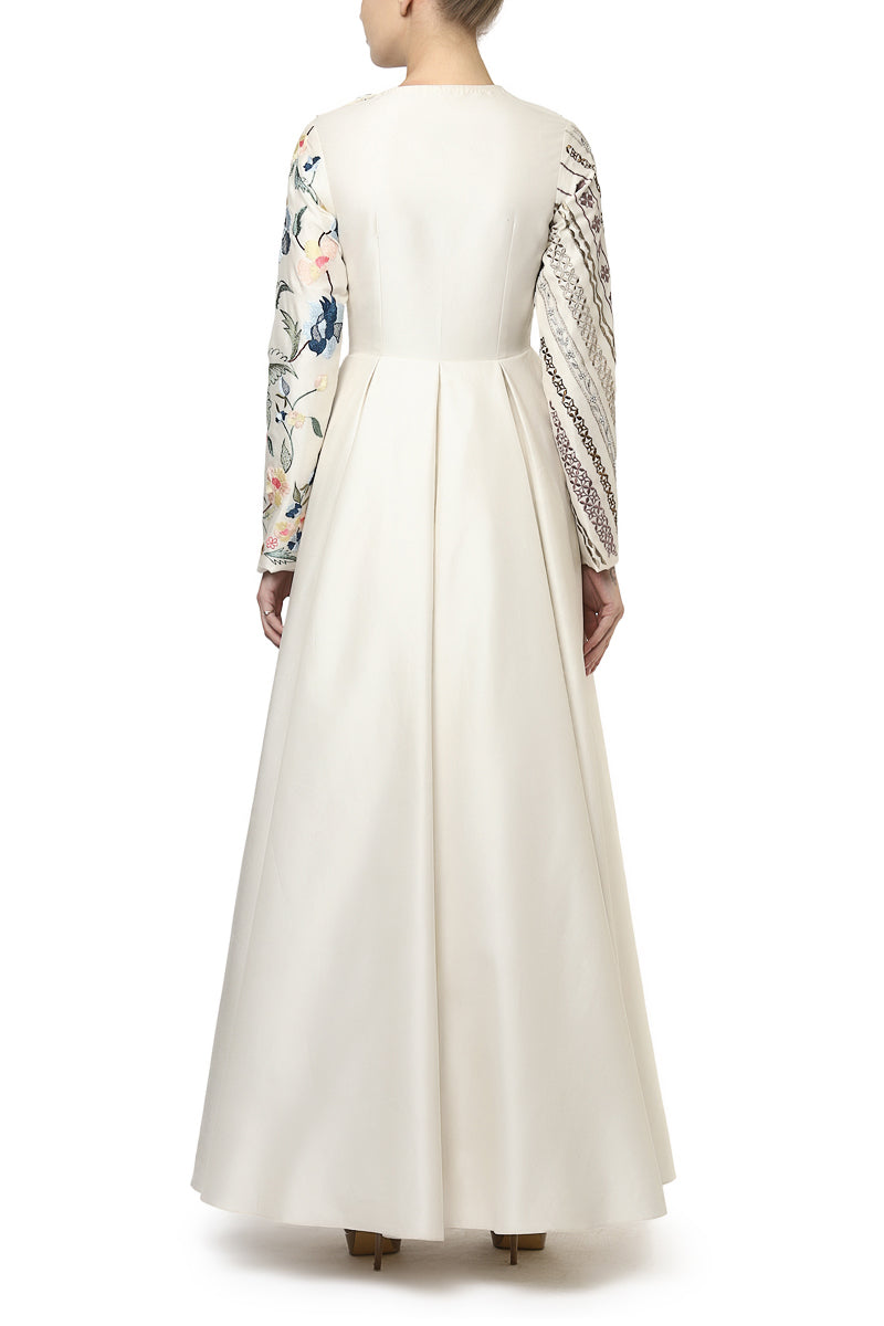 Placket Embroidered Gown