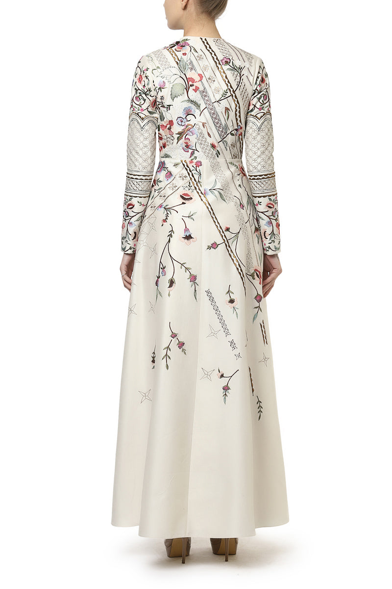 Paneled Embroidered Gown