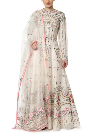 Front-opening Top-Stitch Embroidered Kurta
