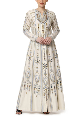 Embroidered Angrakha Kurta with Cigarette Pants