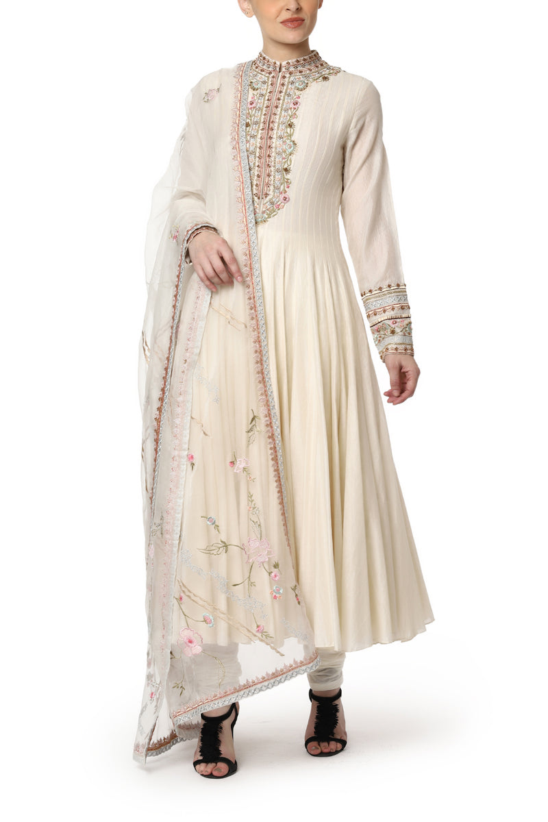 Anarkali with embroidered neck