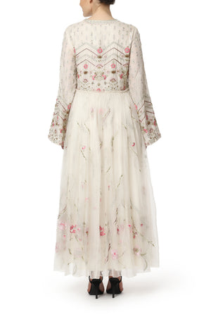 Floral Embroidered Ankle Length Dress