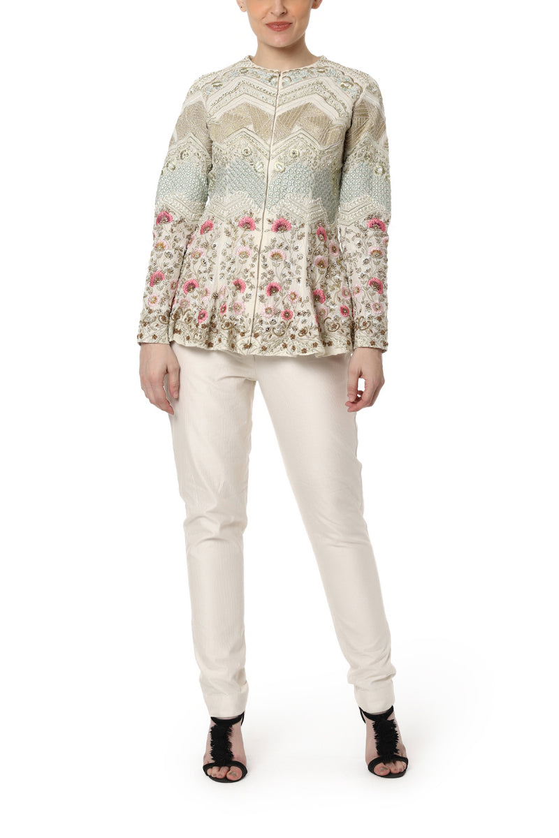 Embroidered Peplum Top with Pants