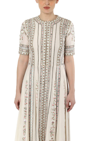Embroidered front open dress