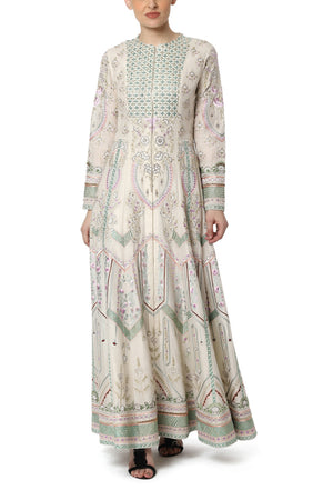Embroidered Front Open Kalidar Dress