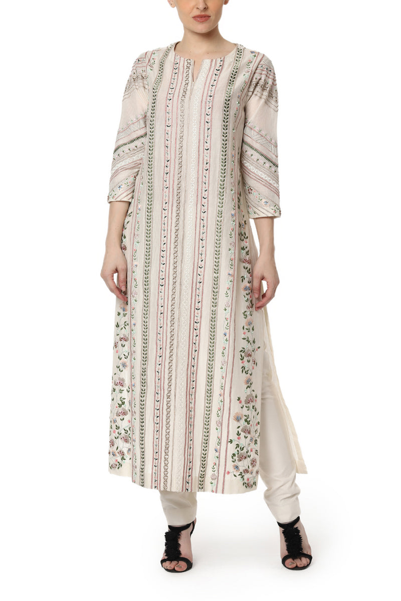 Embroidered Striped Kurta