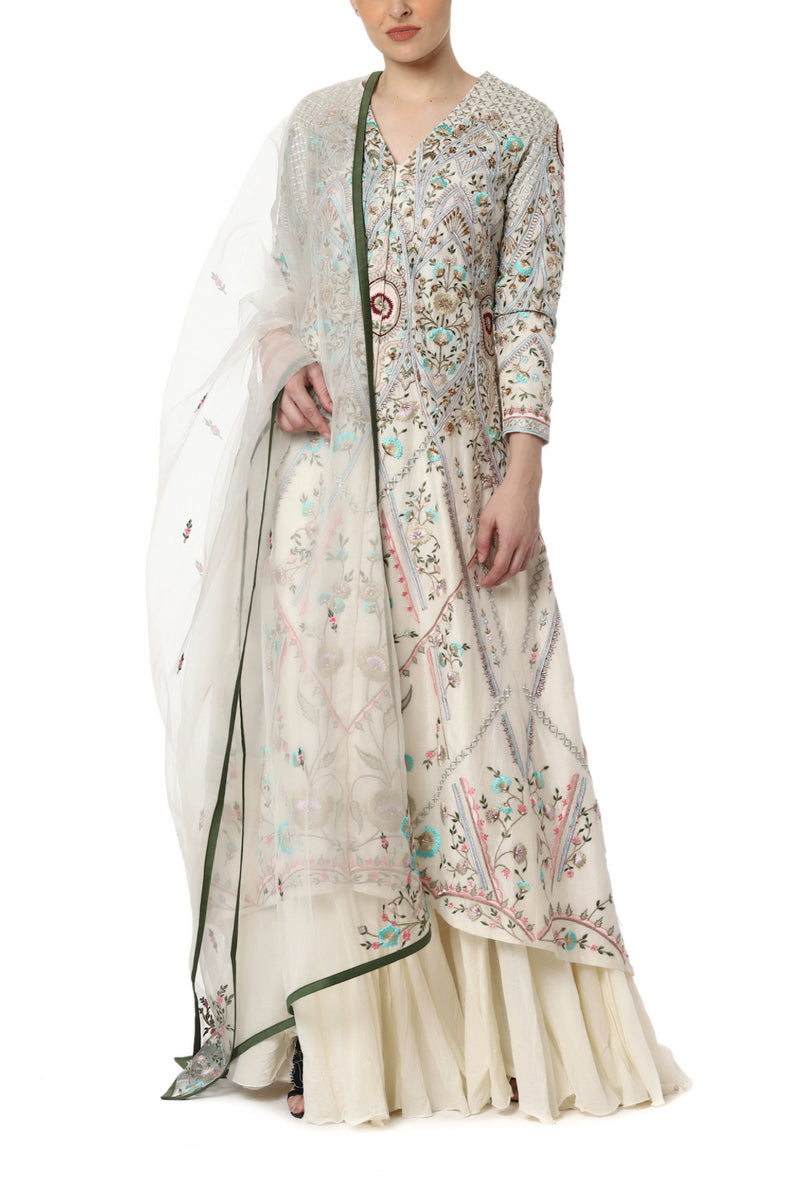 Jacket Kurta with High Low Hemline