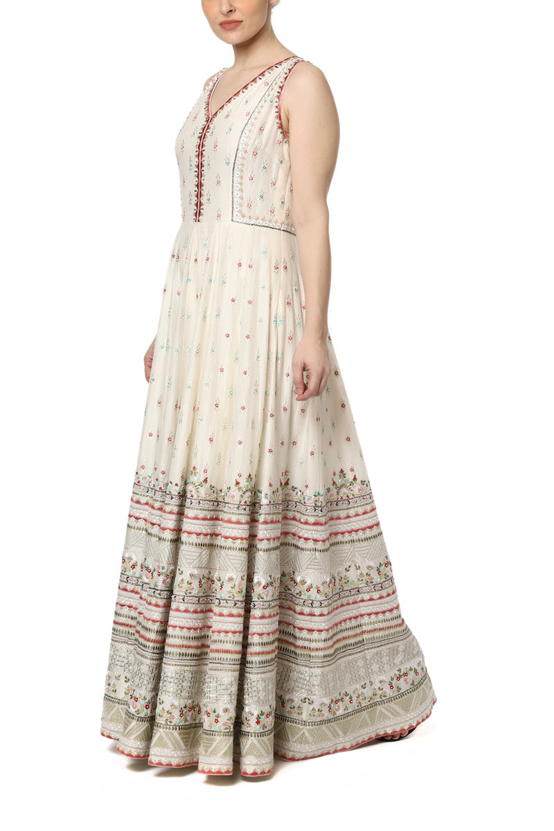 Floor Length Embroidered Dress