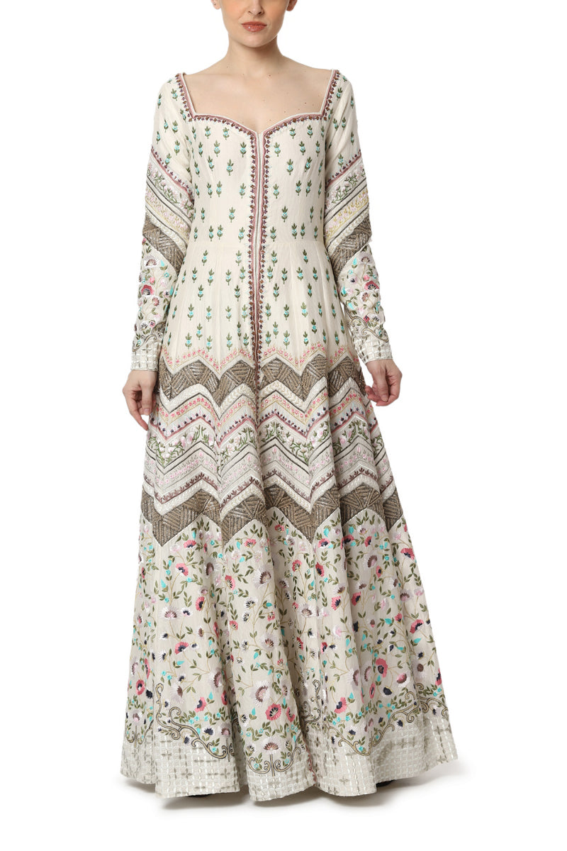 Floor Length Embroidered Front Open Dress