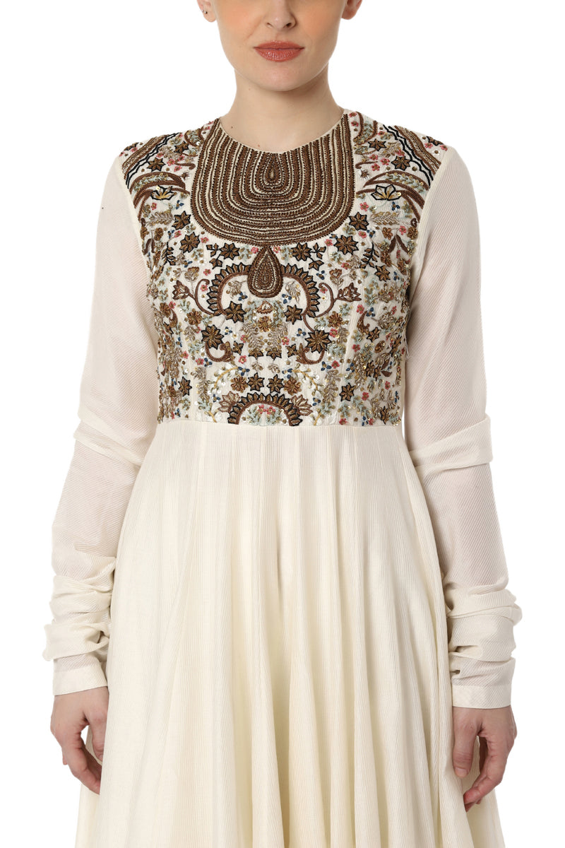 Fit and Flare Dress with Embroidered Neck