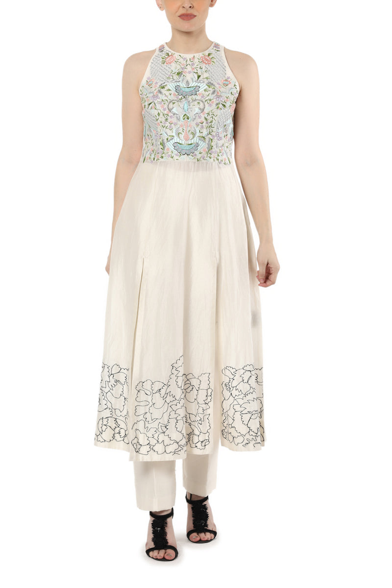 Embroidered Front Slit Kurta with Cigarette Pants