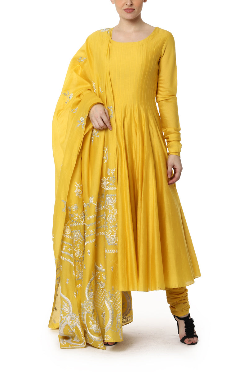 Mustard Anarkali with Embroidered Dupatta