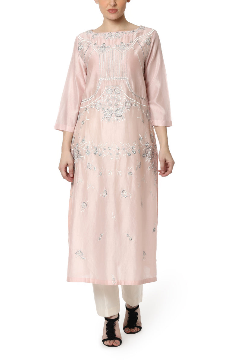 Kurta with Flower Embroidery