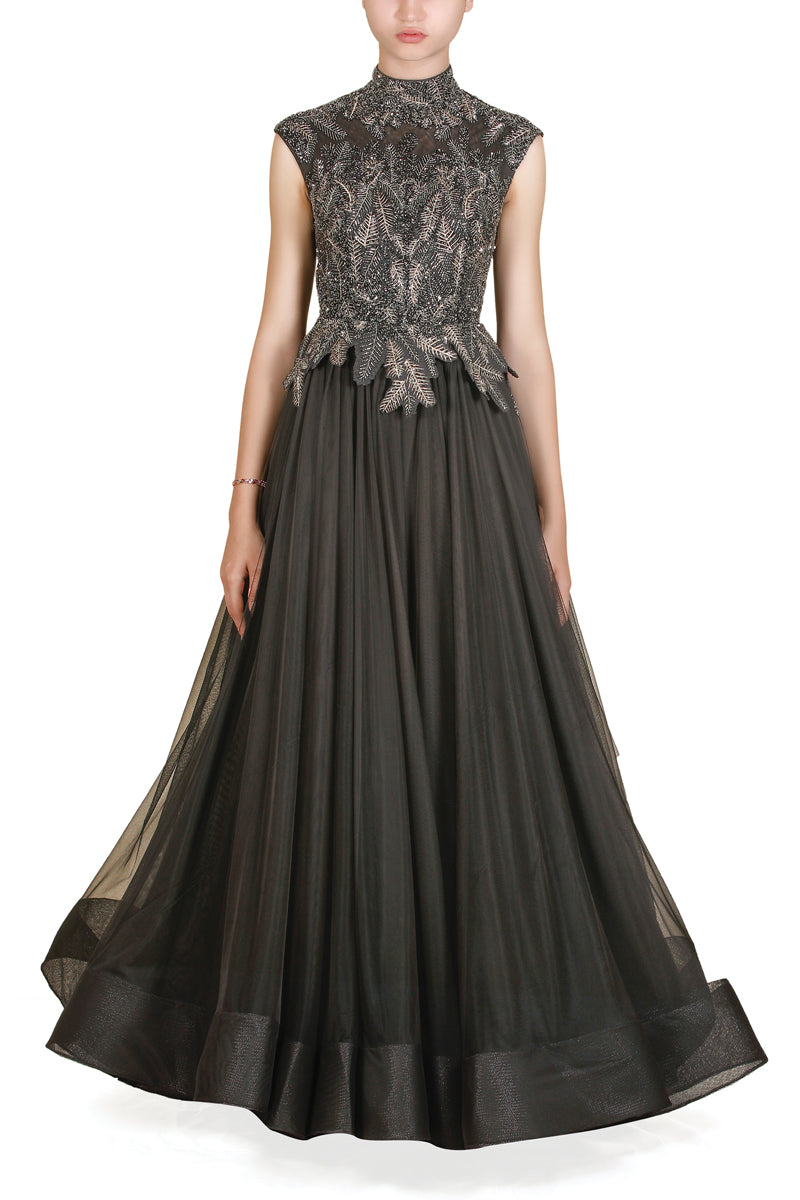 High-Neck Embroidered Gown