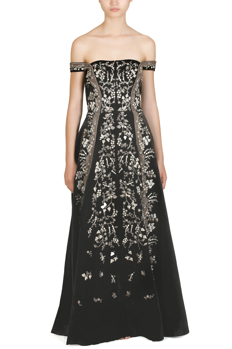 Paneled Bustier Embroidered Gown