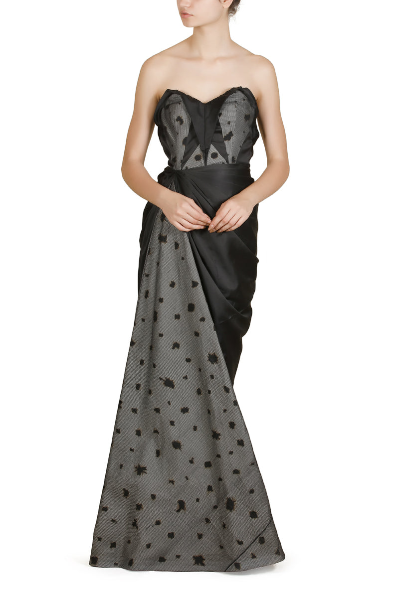 Burnt Effect Bustier Gown