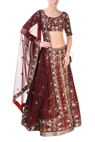 Embroidered & Block Printed Lehenga set