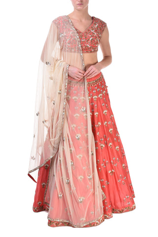 Embroidered Blouse & Saree set